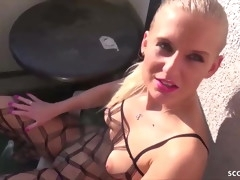 Skinny German Teen Anna B Fuck Threesome Public on Balcony