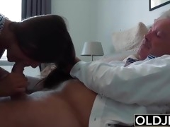 Grandpa Fucks Teen 18 years old tight pussy in bedroom